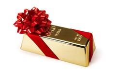 Бар золота с красной лентой, съемками студии Стоковая Фотография