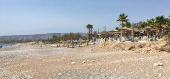 Бар и набережная пляжа в Kissonerga Стоковые Изображения RF