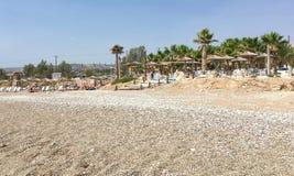 Бар и набережная пляжа в Kissonerga Стоковое Фото