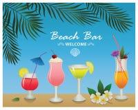 Бар пляжа Комплект пить и коктеилей спирта Стоковые Фото
