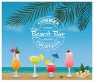 Бар пляжа Комплект пить и коктеилей спирта Стоковое фото RF
