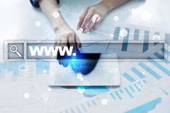 Бар поиска с текстом www Вебсайт, URL Маркетинг цифров Дело, интернет и концепция технологии стоковое изображение rf