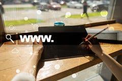 Бар поиска с текстом www Вебсайт, URL Маркетинг цифров стоковое изображение