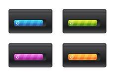 Бар прогресса и другие цвета загрузки на черном векторе предпосылки хранят иллюстрация штока