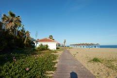 Бар пляжа с palmtrees в Марбелье Стоковая Фотография RF