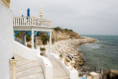 Бар Cafee на побережье в Mahdia, Тунисе Стоковые Фотографии RF