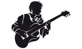 Басист, силуэт Стоковая Фотография