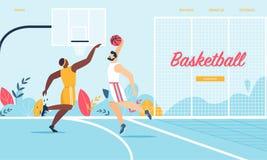 Баскетболисты в действии Игра турнира иллюстрация штока