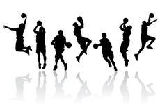 баскетболист silhouettes вектор Стоковые Изображения RF
