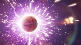 баскетбол белизна шарика предпосылки изолированная баскетболом Драматическая предпосылка баскетбола с огнем искрится в действии сток-видео