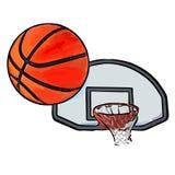 Баскетбол летает в кольцо иллюстрация штока