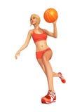 баскетбол играя женщину Стоковые Фотографии RF