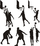 Баскетболисты - силуэт иллюстрация вектора