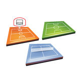 Баскетбол, теннис и футбольное поле Иллюстрация штока