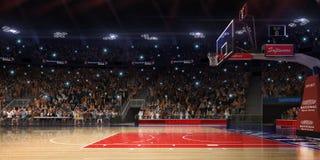 Баскетбольная площадка с вентилятором людей стадион спорта дождя арены Photoreal 3d представляет предпосылку blured в рискованном