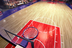 Баскетбольная площадка с вентилятором людей стадион спорта дождя арены Photoreal 3d представляет предпосылку blured в рискованном Стоковое Изображение