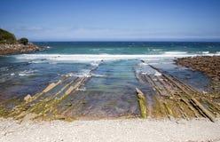 баскская страна getaria пляжа стоковое изображение