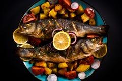 Басовые зажаренные рыбы стоковое фото