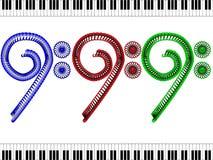 Басовый ключ - красный, синь и зеленый цвет Стоковое Фото