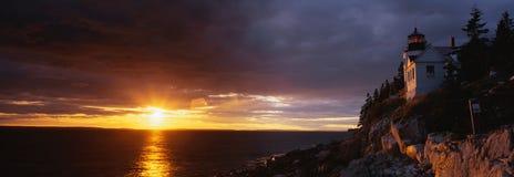 Басовый маяк головки гавани, Мейн Стоковые Изображения