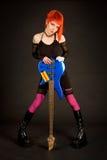 басовый утес гитары девушки романтичный Стоковое Изображение