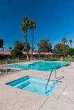 2 бассейна с пальмами и стулом Стоковые Фотографии RF