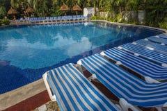 Бассейн в роскошном курорте, Майя Ривьеры, Мексика Стоковое Изображение RF