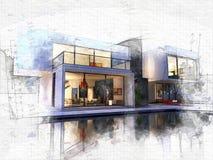 Бассейн куба a одного дома стоковая фотография rf