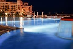 Бассейн ночи на пляже в Болгарии Стоковые Изображения RF
