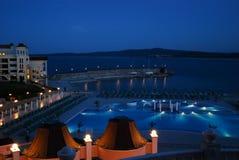 Бассейн ночи на пляже в Болгарии Стоковое фото RF