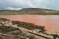 Бассейн, пруд, Recocederos и нории сделанные в Ashlar и Manposteria Salinas в Imon со своим красивым рыжеватым цветом Archite стоковая фотография rf