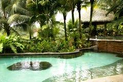 Бассейн с горячей термальной водой в гостинице весны прибегает и курорт Стоковое Изображение RF