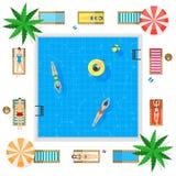 Бассейн с концепцией летних каникулов открытого моря вектор Стоковые Изображения