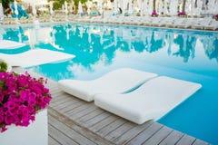 Бассейн с пальмой, белым зонтиком и шезлонгом Стоковая Фотография RF