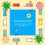 Бассейн с плакатом карточки концепции летних каникулов открытого моря вектор Стоковые Изображения RF
