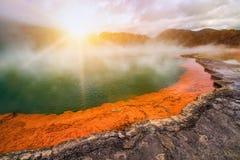 Бассейн Шампани в Rotorua, Новой Зеландии на восходе солнца Стоковая Фотография