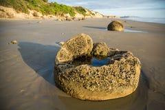 Бассейн Moeraki Больдэра приливный на песчаном пляже Стоковые Фотографии RF