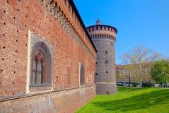 Бастион и фальшборт Sforza рокируют, милан стоковые изображения rf