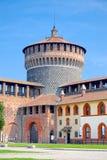 Бастион и фальшборт Sforza рокируют, милан стоковые изображения