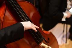 Бас строки/бас-гитарист двойника в оркестре 2 Стоковая Фотография RF