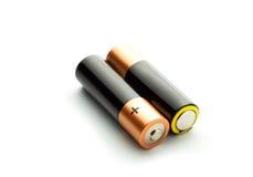 2 батареи на белой предпосылке Стоковые Изображения