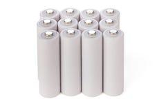Батареи AA стоят в ряд Стоковое фото RF