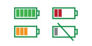 Батарея вполне и батарея пустая Стоковые Изображения