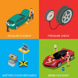 Батарея проверки давления проверки обслуживания автомобиля регулярн Стоковые Фотографии RF