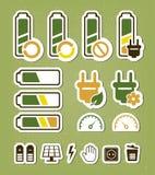 Батарея рециркулируя установленные иконы Стоковые Фотографии RF