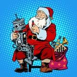 Батарея робота подарка Санта Клауса Стоковая Фотография RF