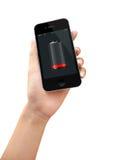Батарея умного телефона низкая Стоковое Фото