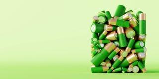 Батарея щелочных аккумуляторов, концепции окружающей среды стоковое изображение rf