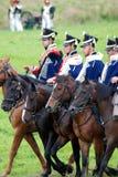 Батальная сцена Нападения кавалерии стоковые изображения