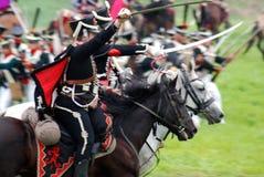 Батальная сцена Нападения кавалерии стоковое изображение rf